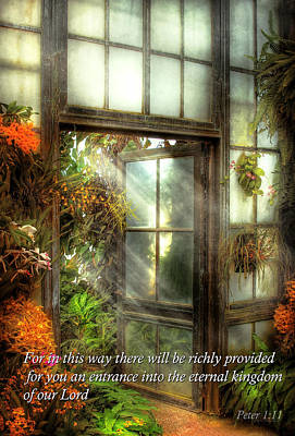 Parable Photograph - Inspirational - The Door To Paradise - Peter 1-11 by Mike Savad