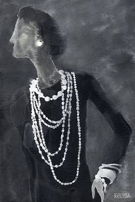 Black And White Painting - Inspired By Chanel Fashion Illustration Art Print by Beverly Brown