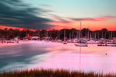 Yachts Photograph - Inspiring View - Rhode Island At Dusk Warwick Neck Marina Harbor Sunset by Lourry Legarde