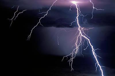 Lightning Photograph - Intense Cloud-to-ground Lightning Strike by Thomas Wiewandt