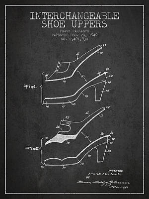 Old Boot Digital Art - Interchangeable Shoe Uppers Patent From 1949 - Charcoal by Aged Pixel