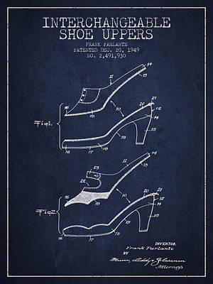 Interchangeable Shoe Uppers Patent From 1949 - Navy Blue Print by Aged Pixel