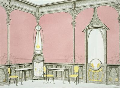 Interior Design For A Brasserie Print by F. Barabas
