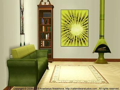 Beauty Digital Art - Interior Design Idea - Kiwi by Anastasiya Malakhova