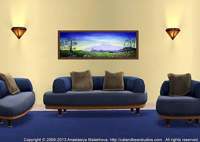 Kids Digital Art - Interior Design Idea - Lonely Mountain by Anastasiya Malakhova