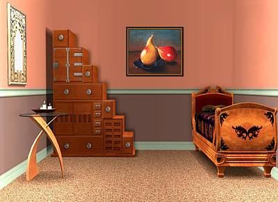 Print Drawing - Interior Design Idea - Two Pears by Anastasiya Malakhova