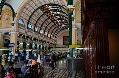 Interior Hall Of Historic Saigon Central Post Office Building Vietnam Print by Imran Ahmed