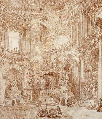 Interior Of A Church  Print by Hubert Robert
