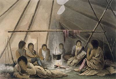 Franklin Drawing - Interior Of A Cree Indian Tent, 1824 by Lieutenant Hood