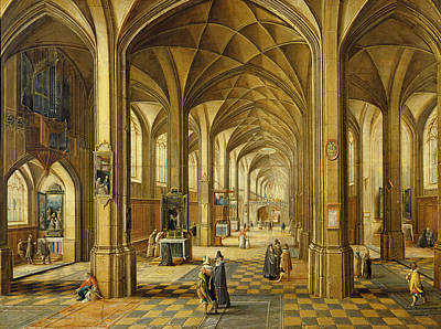 Interior Of A Gothic Style Church With Three Naves Oil On Canvas Print by Hendrik the Younger Steenwyck