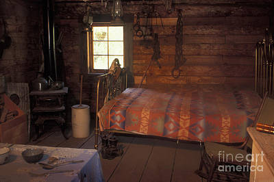 Interior Of A Loggers Cabin Print by Ron & Nancy Sanford