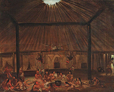 George Catlin Painting - Interior Of A Mandan Lodge by George Catlin