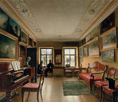 Interior Decoration Photograph - Interior Of A Manor House, 1830s Oil On Canvas by Alexei Vasilievich Tyranov