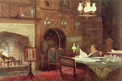 Gas Lamp Painting - Interior Of A Panelled Hall by Alfred J. Warne Brown