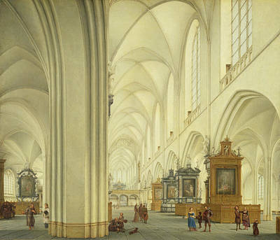 Interior Of Antwerp Cathedral, C.1668 Print by Isaac van Nickele