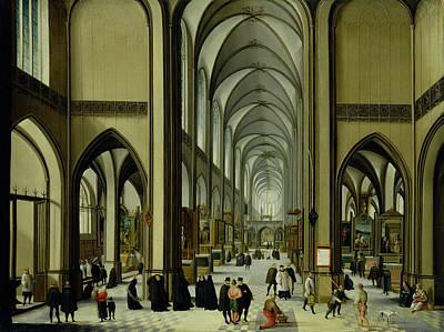 Interior Of Antwerp Cathedral Oil On Canvas Print by Hendrik van Steenwyck