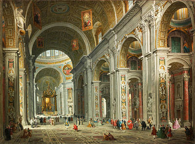 Giovanni Paolo Panini Painting - Interior Of Saint Peter's. Rome by Giovanni Paolo Panini
