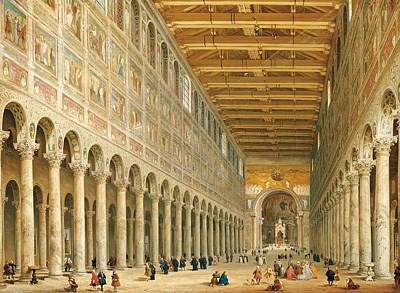 Ecclesiastical Painting - Interior Of San Paolo Fuori Le Mura by Giovanni Paolo Panini