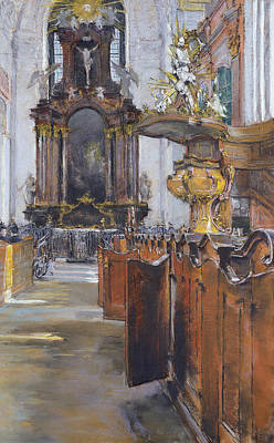 Interior Of St Michaelis In Hamburg Print by Gotthardt Johann Kuehl