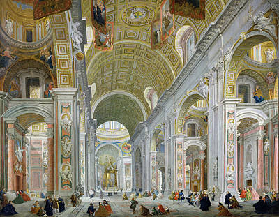 Paolo Painting - Interior Of St Peters In Rome by Giovanni Paolo Panini