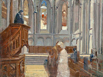 Ferdinand Hodler Painting - Interior Of St Pierre Cathedral Geneva by Ferdinand Hodler