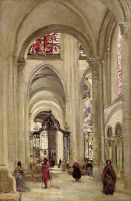Interior Of The Cathedral Of St. Etienne, Sens Print by Jean Baptiste Camille Corot