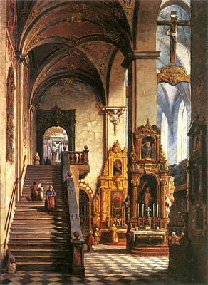 Interior Of The Dominican Church In Krakow Print by Marcin Zaleski