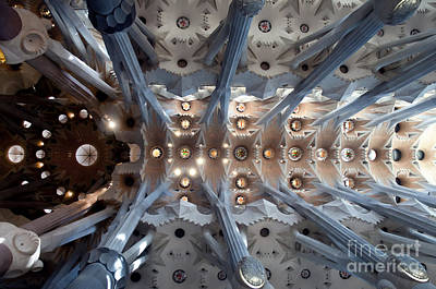 Interior Of The Gaudi's Sagrada Familia 2 Print by Design Remix