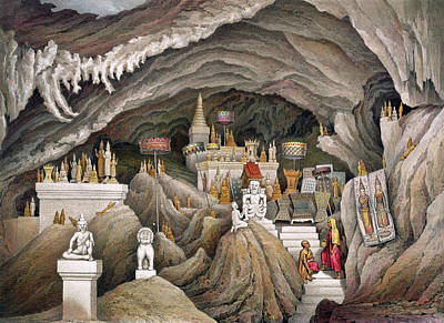 Interior Of The Grotto Of Nam Hou Print by Louis Delaporte