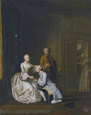 Interior Scene With A Lady And Two Suitors Print by Celestial Images