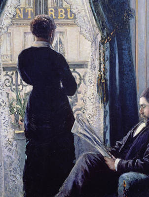 Unhappy Painting - Interior Woman At The Window by Gustave Caillebotte