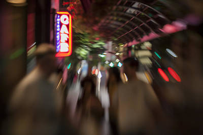 International Cafe Neon Sign And Street Scene At Night Santa Monica Ca Landscape Print by Scott Campbell