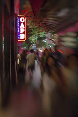 International Cafe Neon Sign And Street Scene At Night Santa Monica Ca Portrait Print by Scott Campbell