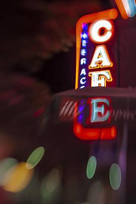 International Cafe Neon Sign At Night Santa Monica Ca Print by Scott Campbell