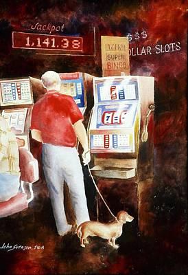 Dachshund Painting - Interrupted Walk by John  Svenson
