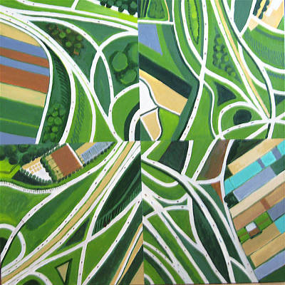 Green Intersections Print by Toni Silber-Delerive