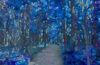 Fantasy Tree Mixed Media - Into The Blue Forest by Dan Sproul