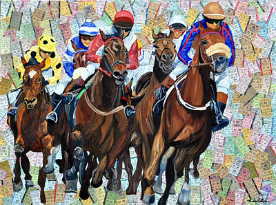 Kentucky Derby Mixed Media - Into The Final Turn by Michael Lee