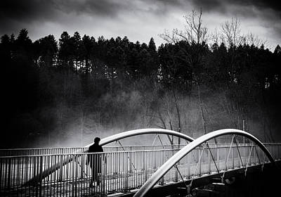 Into The Future - Woman Crossing Bridge Print by Matthias Hauser