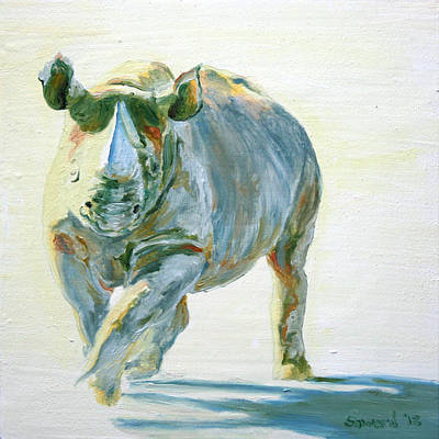 White Rhino Painting - Into The Light Alex by Sarah Soward