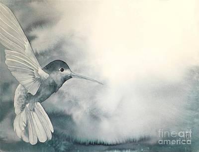 Hummingbird Painting - Into The Light by Robert Hooper