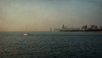 Chicago Skyline Mixed Media - Into The Morning - Linen by Kathleen Scanlan