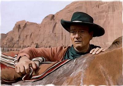 Into The West John Wayne Print by Iconic Images Art Gallery David Pucciarelli