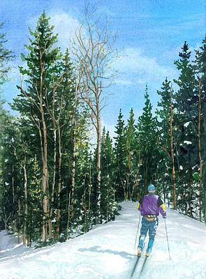 Cross-country Skiing Painting - Into The Woods by Barbara Jewell