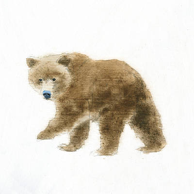 Brown Bear Painting - Into The Woods Vi On White No Border by Emily Adams
