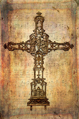 Intricate Rusty Iron Cross Print by David and Carol Kelly