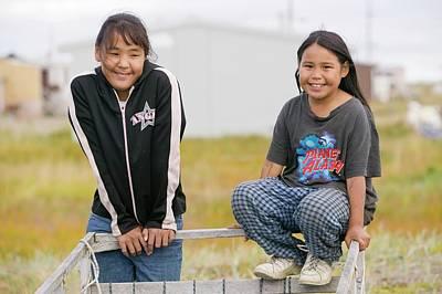 Inuit Children On Shishmaref Print by Ashley Cooper