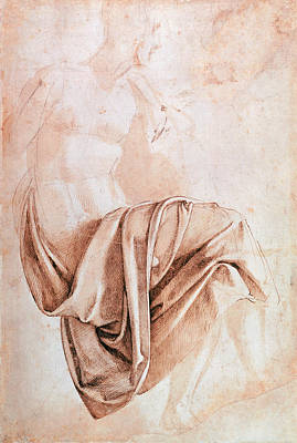 Hatching Photograph - Inv. 1887-5-2-118 Recto W.10 Study Of Drapery Drawing by Michelangelo Buonarroti