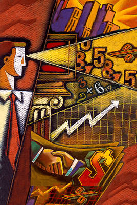 Finance Painting - Investor by Leon Zernitsky