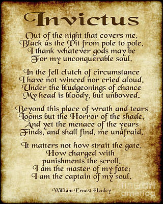 Invictus - Old Parchment Design Print by Ginny Gaura